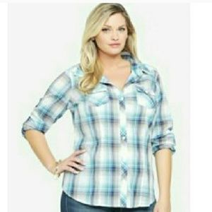 Torrid 3x Bright Blue and White Button Down Top